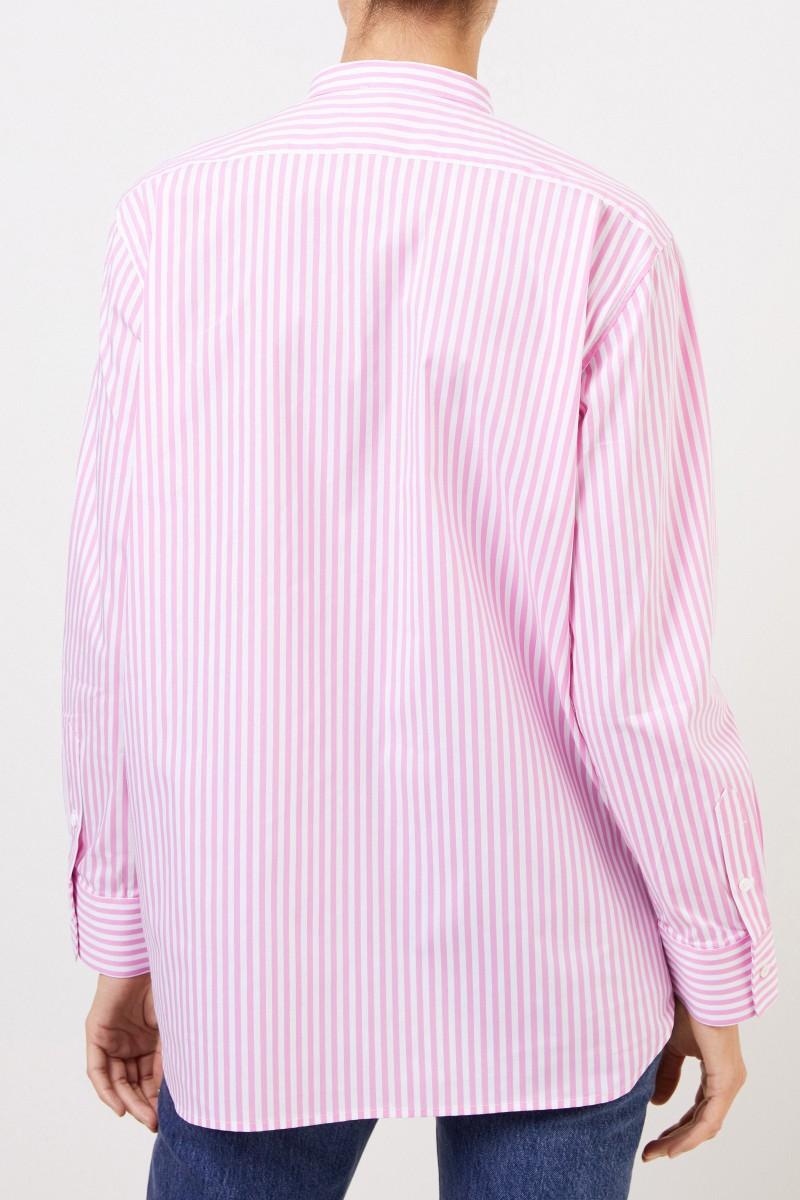 Uzwei Gestreifte Baumwoll-Bluse Rosé/Weiß