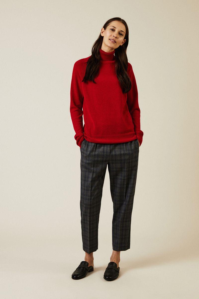 Cashmere-Rollkragenpullover mit Rippdetails Rot