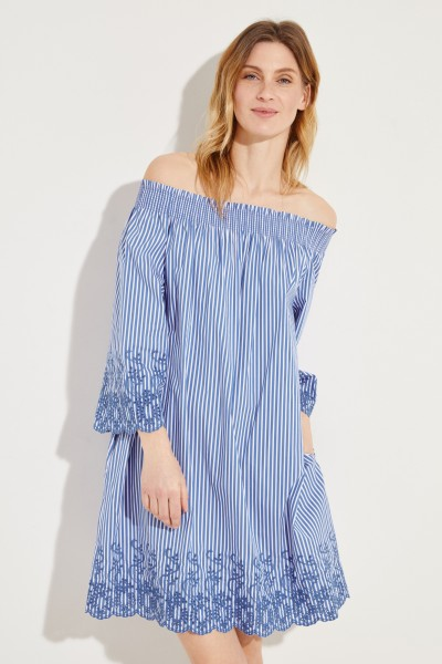 Off-Shoulder Kleid mit Stickerei Blau/Weiß