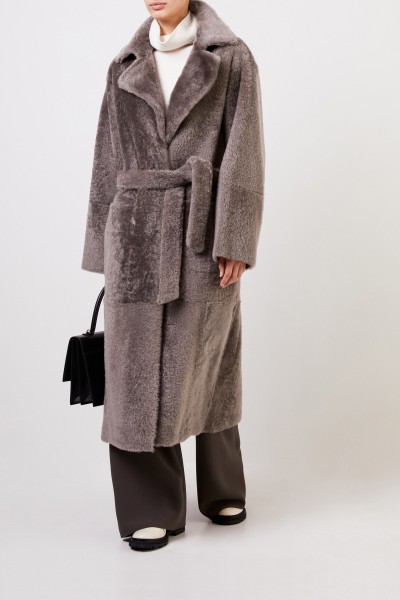 Reversible lambskin coat with belt Taupe