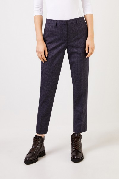 Fabiana Filippi Wool Pants with Glencheck Dark Blue/Grey