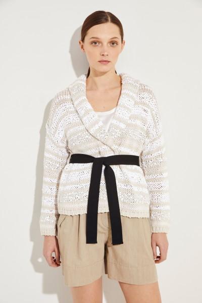Baumwoll-Cardigan mit Gürtel Weiß/Multi