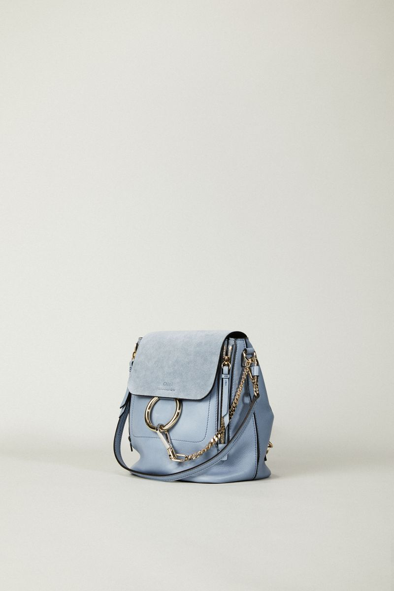Rucksack 'Faye Backpack' mit Veloursleder-Detail Washed Blue