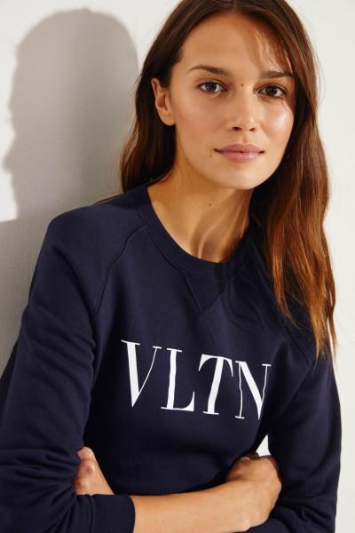Baumwoll-Sweater mit Logo Blau/Weiß