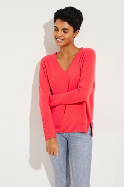 Cashmere-Pullover mit V-Ausschnitt Pink