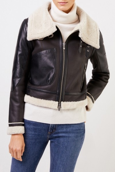 Uzwei Lambskin jacket with flaps Dark Brown/Black