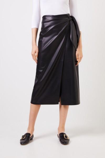 Nanushka Leatherette wrap skirt 'Amas' Black