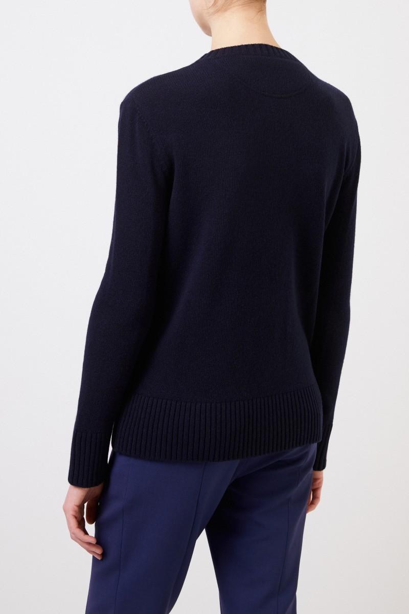 Valentino Woll-Cashmere-Pullover 'V' Navy