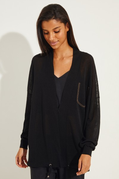Linen cardigan with pearl decoration Black