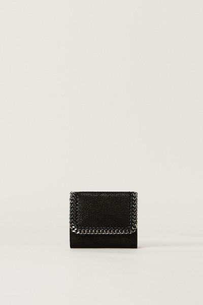 Kleines Portemonnaie mit Ketten-Detail Schwarz