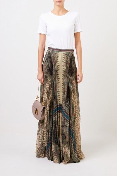 Etro Pleated maxi skirt with print Multi