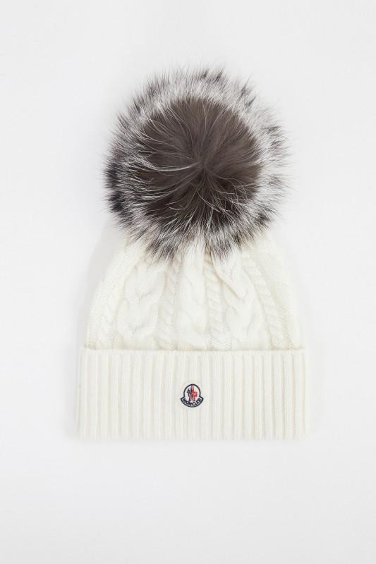 Moncler Woll-Cashmere-Mütze mit Zopfmuster Weiß