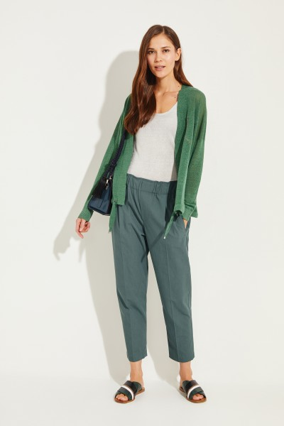Brunello Cucinelli Cotton pants with elastic waistband Green