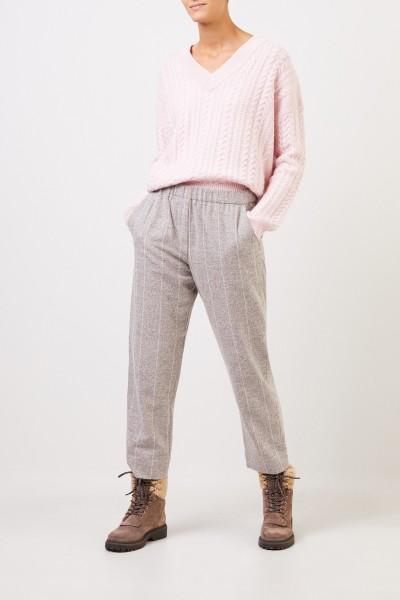 Fabiana Filippi Alpaka-Baumwoll-Hose mit Gummibund Grau/Weiß