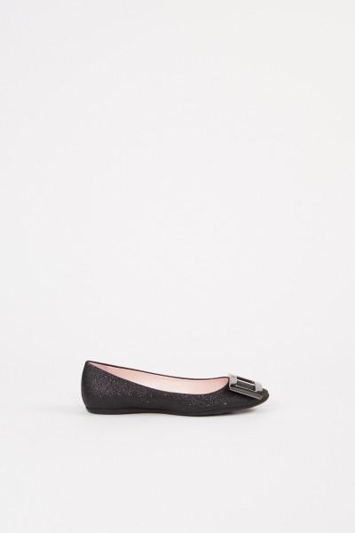 Flats 'Gommette' with Glitter Leather Black