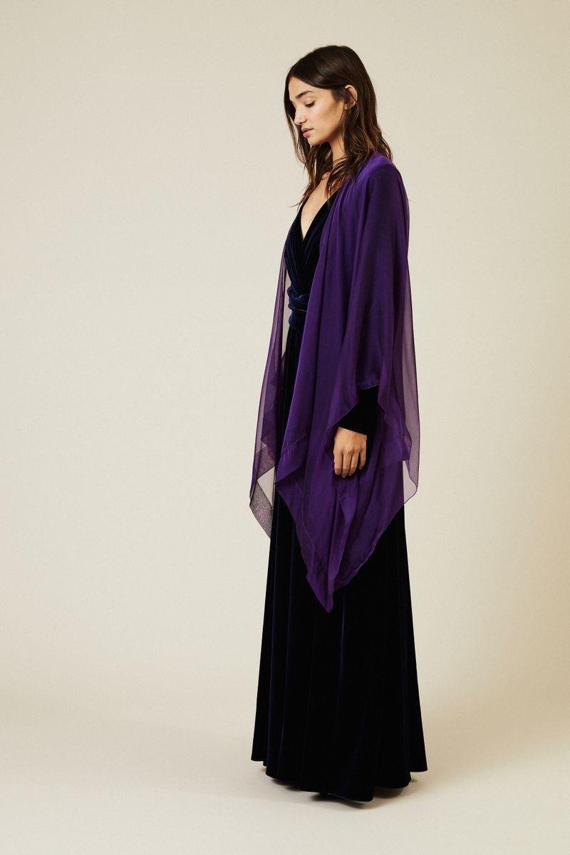 Transparentes Seidencape 'Hint11' Violett