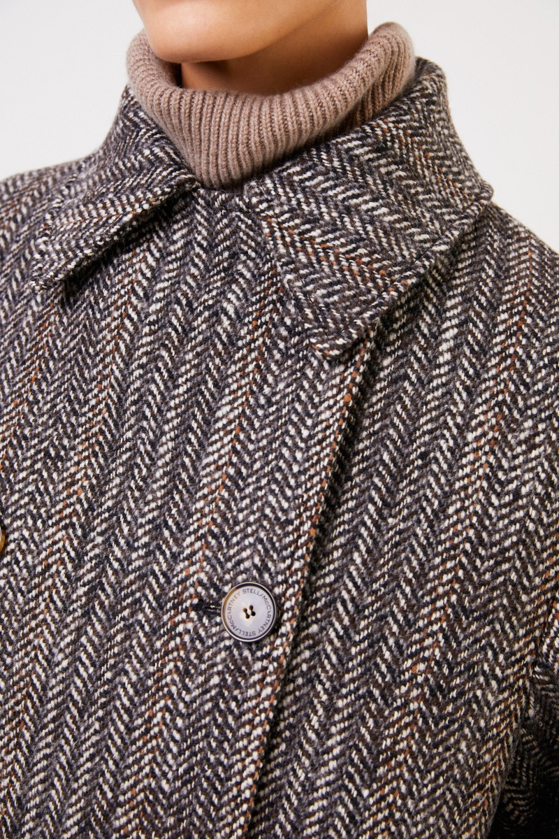 Stella McCartney Langer Woll-Mantel mit Fischgrätmuster Multi