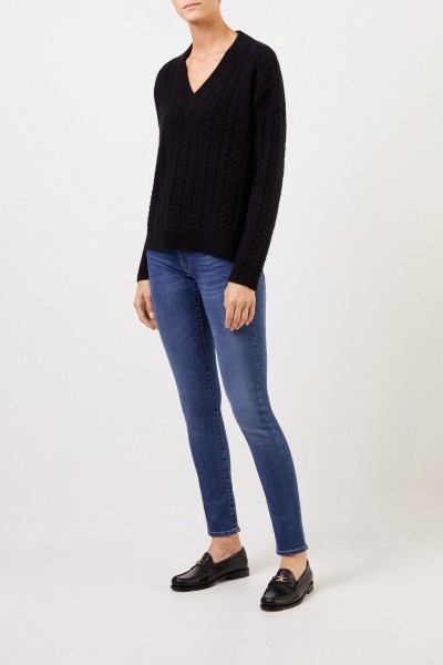V-neck cashmere pullover with cable stitch Black