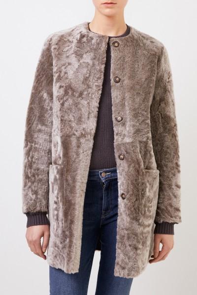 Benedetta Novi Reversible lambskin coat 'Pippa Astracan' Taupe