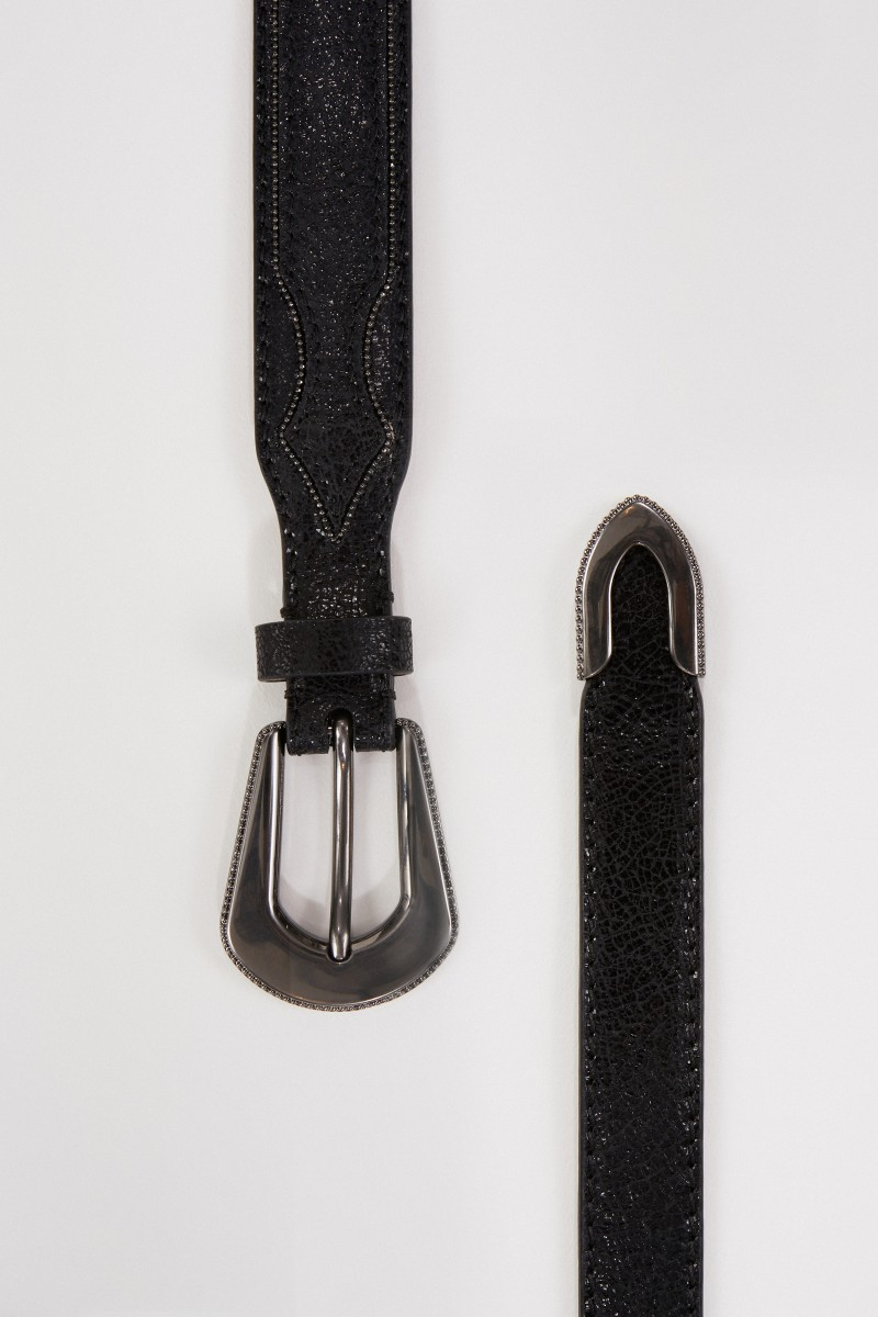 Brunello Cucinelli Ledergürtel mit Perlen-Details Schwarz