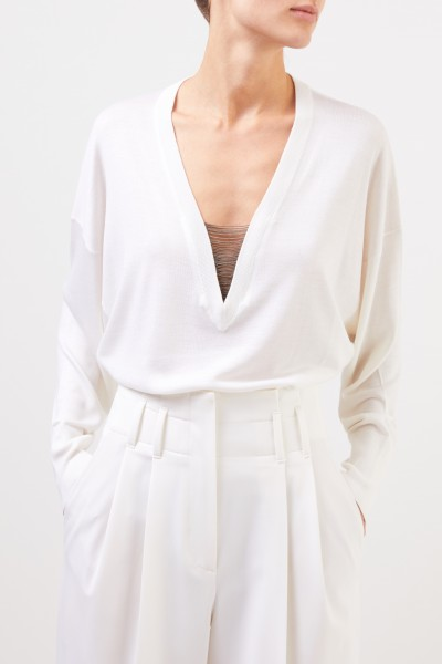 Brunello Cucinelli Cashmere silk pullover with chain details White