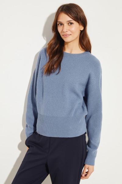 Rippstrick Cashmere-Pullover Blau