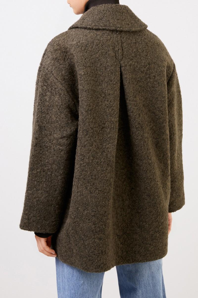 Woll-Mantel aus texturierter Bouclé-Wolle Khaki