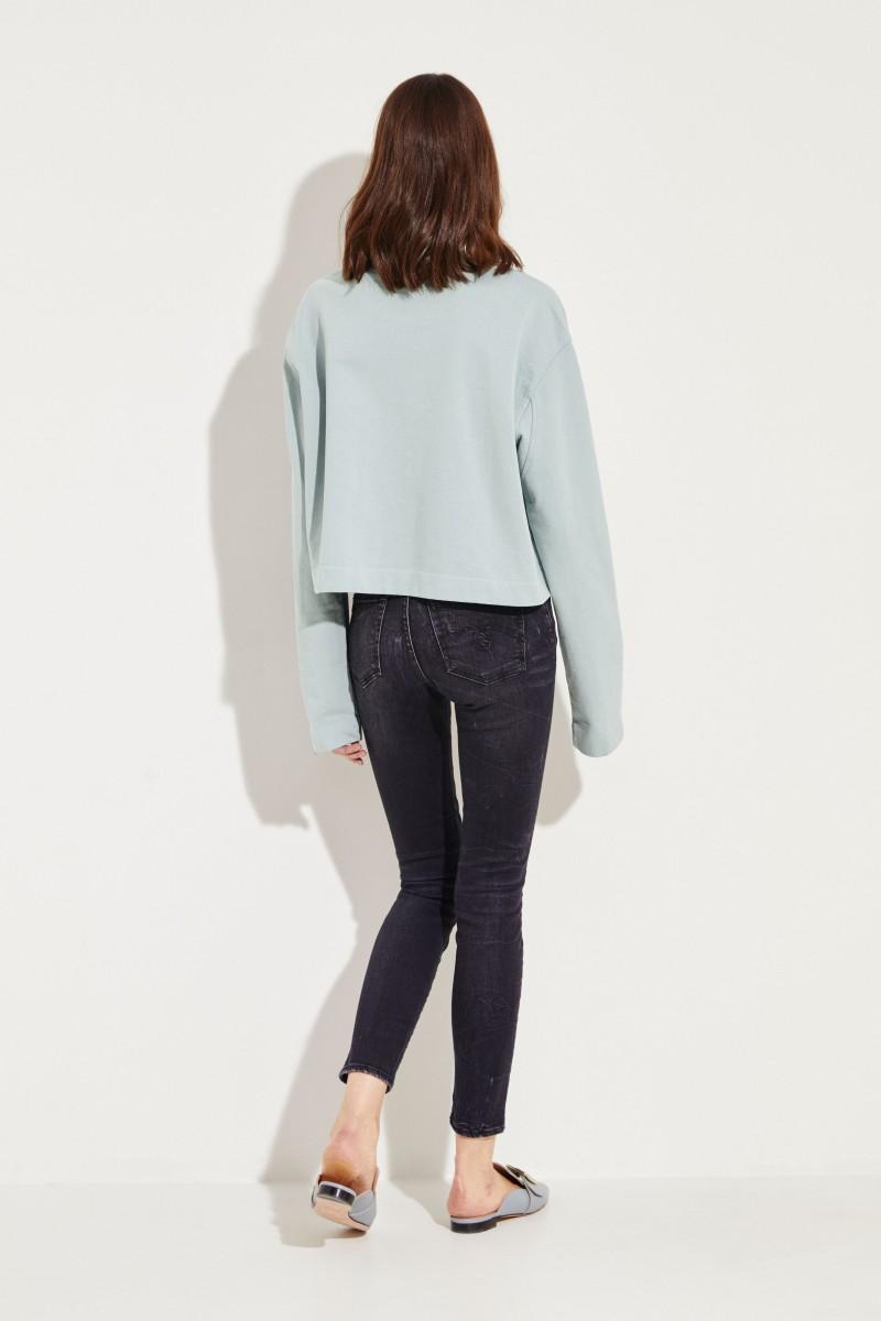 Gecropptes Baumwoll-Sweatshirt Hellblau