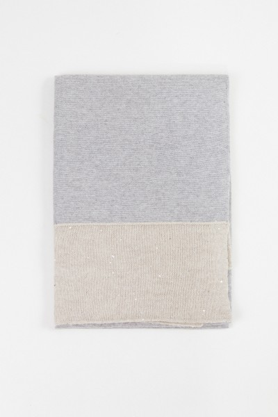 Fabiana Filippi Wool-Silk Scarf with Sequined Details Grey/Beige