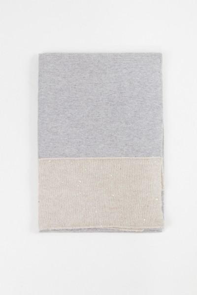 Fabiana Filippi Woll-Seiden Schal mit Pailletten-Details Grau/Beige