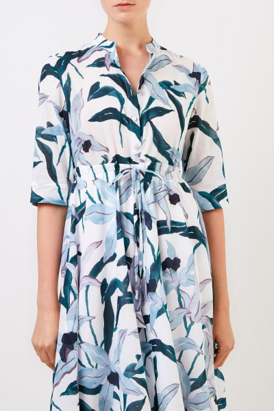 Tory Burch Midi-Kleid mit floralem Print Blau/Grün