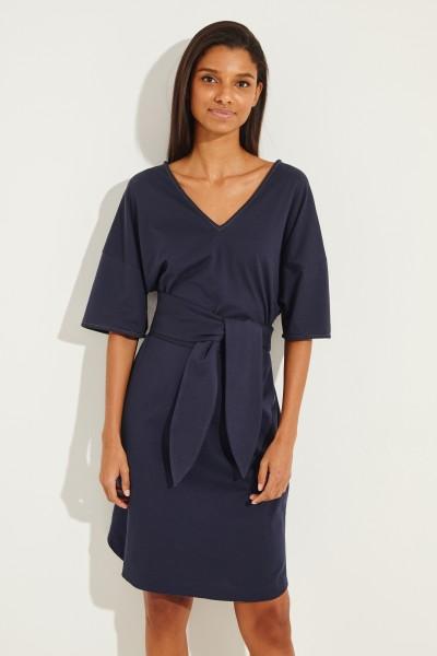 Kurzes Kleid mit Bindedetail Blau