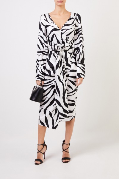 Oscar de la Renta Patterned silk dress black/white