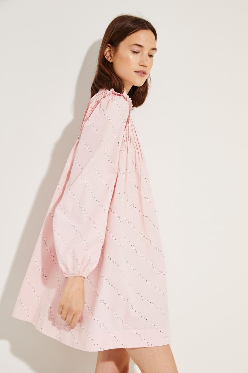 Poplin-Kleid mit floralem Print Rosé