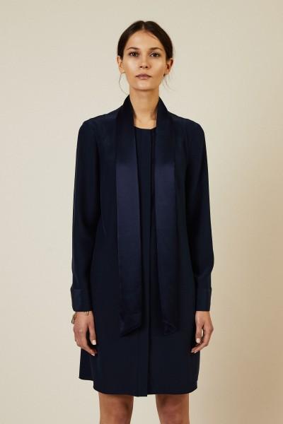 Seiden-Kleid 'Sophia' mit Bindedetail Blau