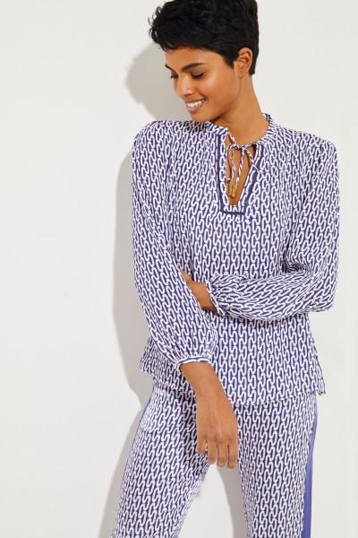 Gemusterte Seiden-Bluse 'Iman' Blau/Weiß