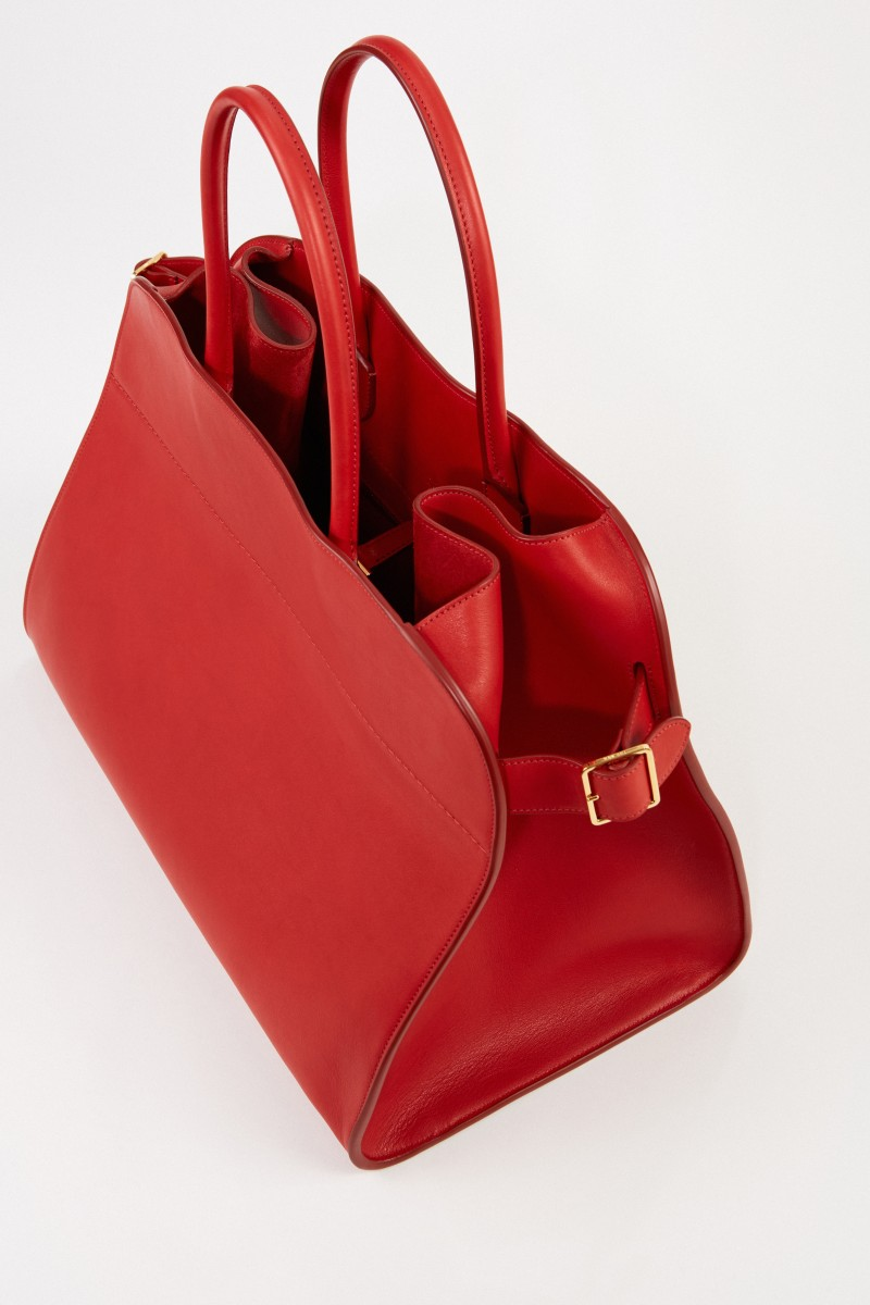 The Row Leather handbag 'Margaux 17' Red