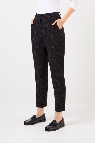 Cambio Trousers 'Stella' with print Brown/Multi