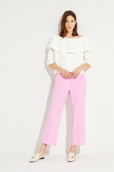 Stella McCartney Off-Shoulder Blouse with Volant Cream White