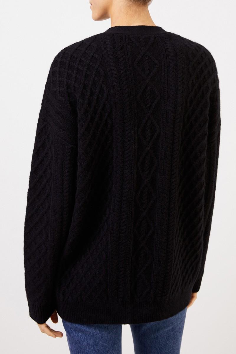 UZWEI Cashmere-Cardigan mit Zopfmuster Schwarz