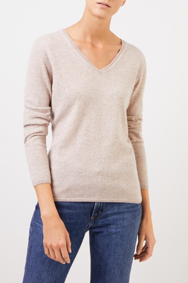 Uzwei Cashmere-Pullover mit V-Neck Beige