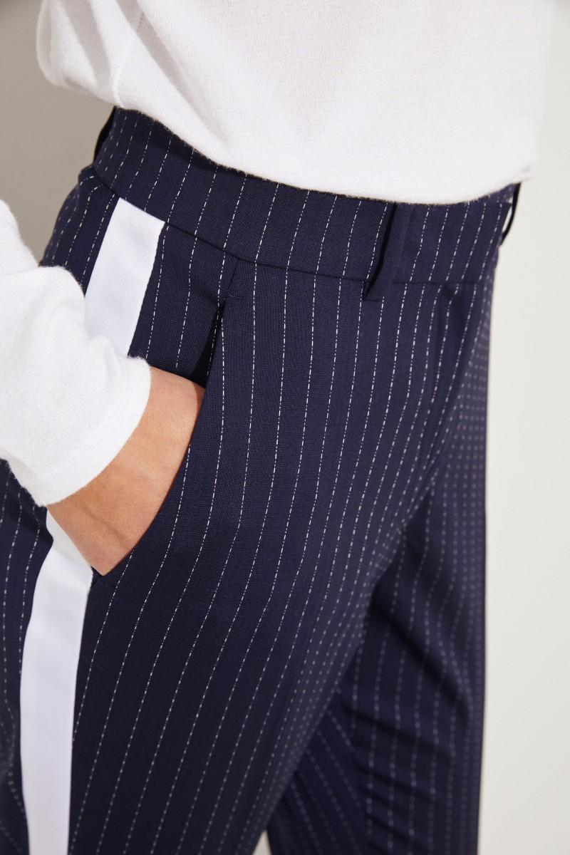Woll-Hose mit Satin-Streifen 'Aries' Marineblau/Weiß