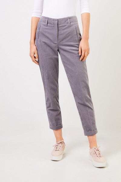 Cambio Cord trousers with hem cover Light Grey