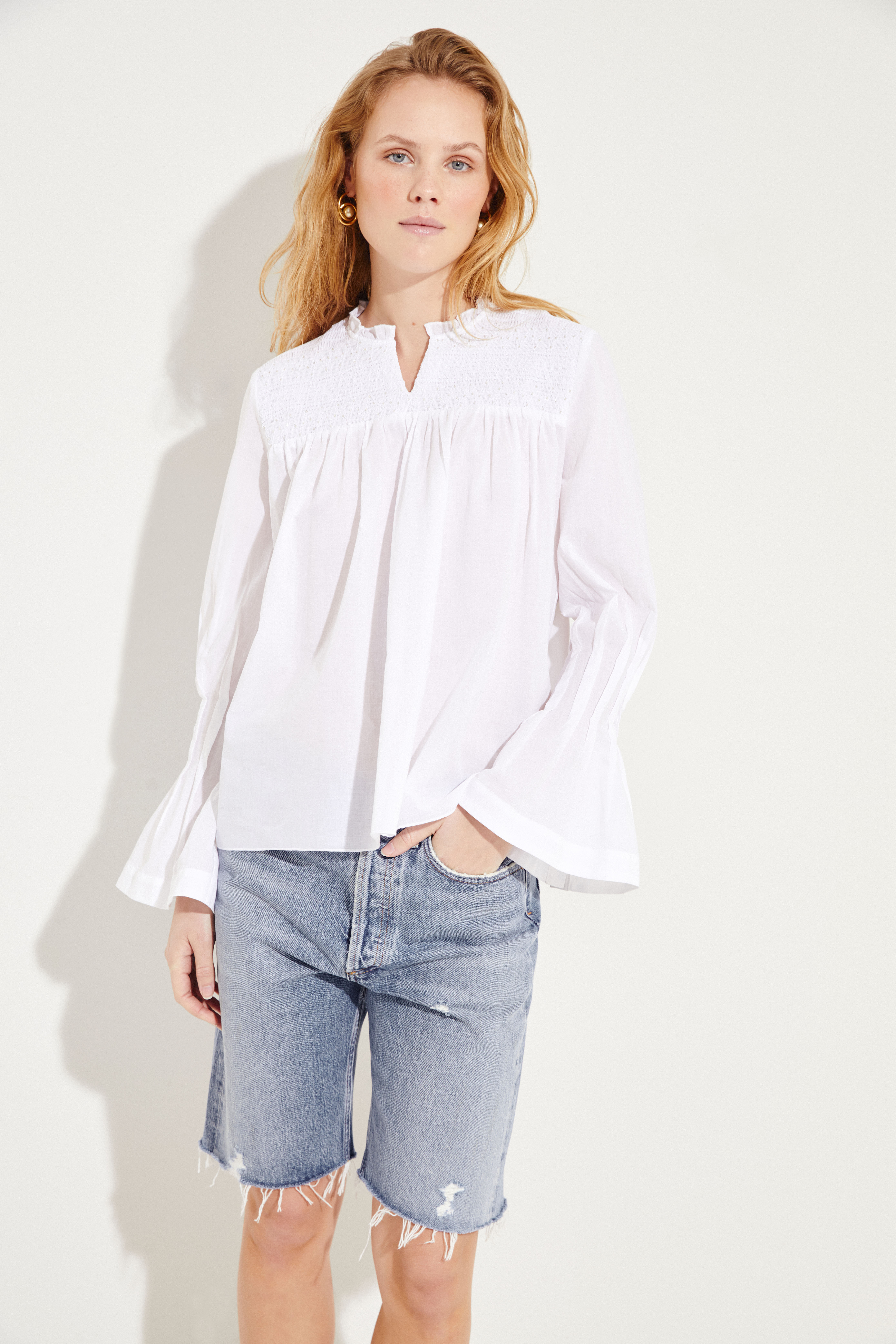 bf27a3de0a01b9 Cotton blouse with bell sleeves White