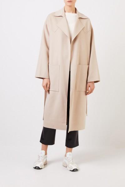 Wool-silk-coat 'Alamo' with belt Beige