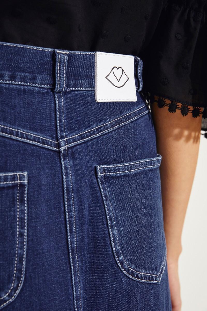 Jeansrock mit geflochtenen Details Blau