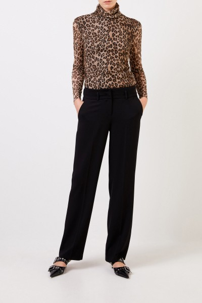 Turtleneck shirt with leoprint Brown/Multi