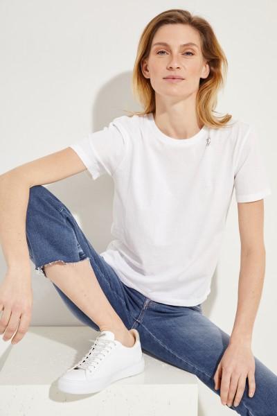 Baumwoll-Shirt mit Aufdruck Weiß