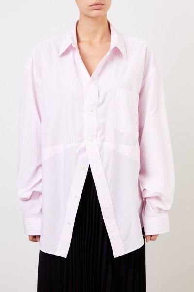 Balenciaga Oversize Bluse mit Streifenmuster Rosé/Weiß
