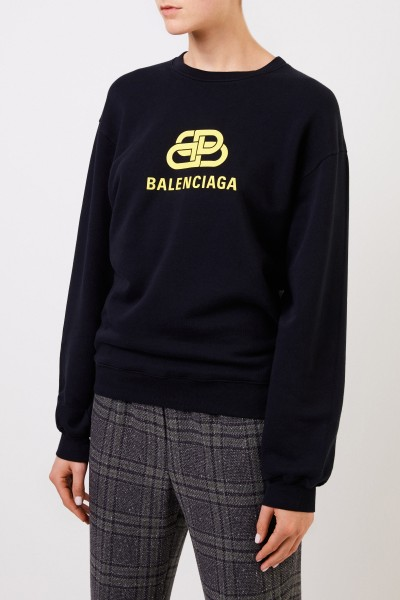 Balenciaga Sweatershirt with Logo-Detail Black/Yellow